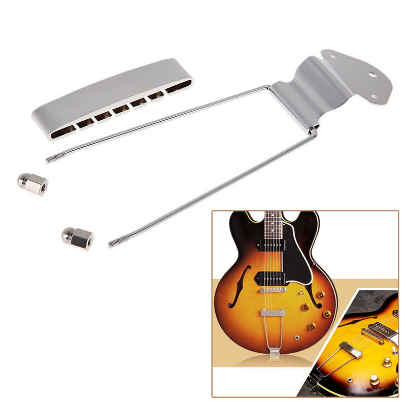 High Quality Chrome Guitar Bridge 6 String Jazz Trapeze Tailpiece Open Frame for Archtop Guitar Parts Silver Color(China (Mainland))