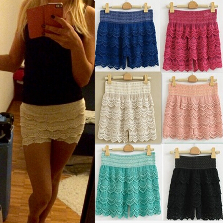 Hot XXL Sizes 2015 Summer Woman Shorts Sweet Style Lace shorts Crochet Hollow Elastic Waist Slim Short Drop Ship - cn1511920793 store