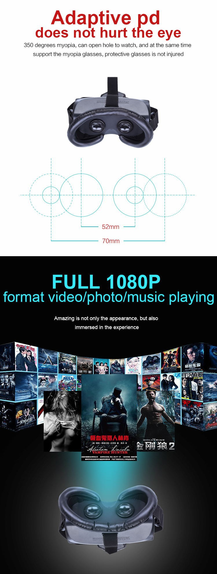 HDM518 3D Immersive VR Virtual Reality Headset IPD Adjustable 640*360 1080P FHD Video Music Private Theater HDM518 VR Headset