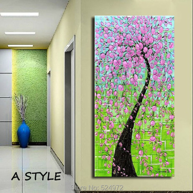 Hand painted modern home decor wall art picture green background ...