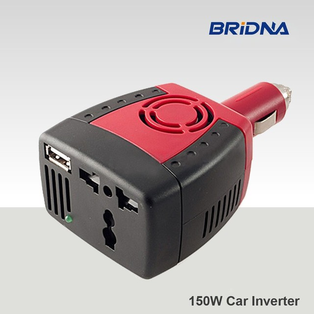 BRIDNA 150w Cigarette Lighter car charger converter dc 12v to ac 110v 60hz 220v 50hz car power inverter adapter with USB port