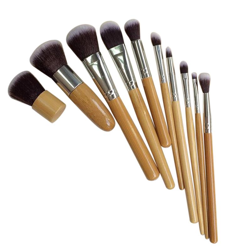 10 PCS Professional Cosmetic Brush Set Bamboo Handle Synthetic Makeup Brushes Kit Make Up Brush Set Tools(China (Mainland))
