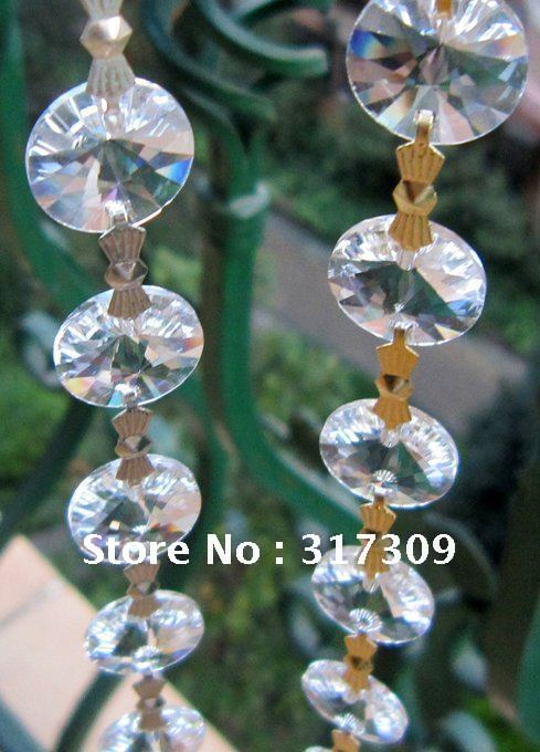 10M/Lot Crystal Garland With Silver/ Gold Bowtie Connectors, Clear 14mm Sunflower Crystal Strands, Fedex/EMS Free Shipping(China (Mainland))
