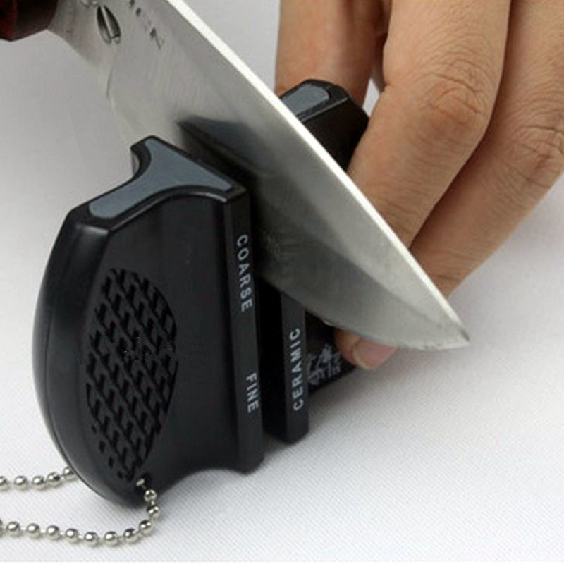New Mini Ceramic Rod Tungsten Steel Camp Pocket Kitchen Knife Sharpener Tool Random Color(China (Mainland))