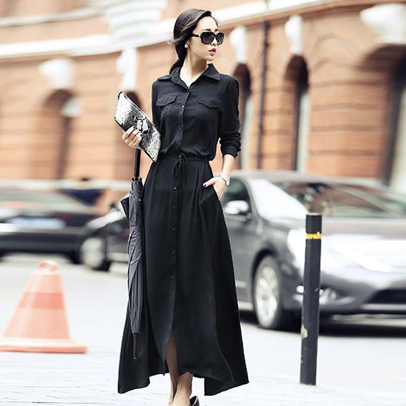 Collection Long Black Casual Dress Pictures - Reikian