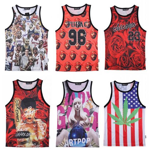 2015 new summer fashion 3D tanks tops print Jordan/Rihanna/Tupac 2Pac/lion basketball jersey sleeveless shirts for men/women TEE(China (Mainland))