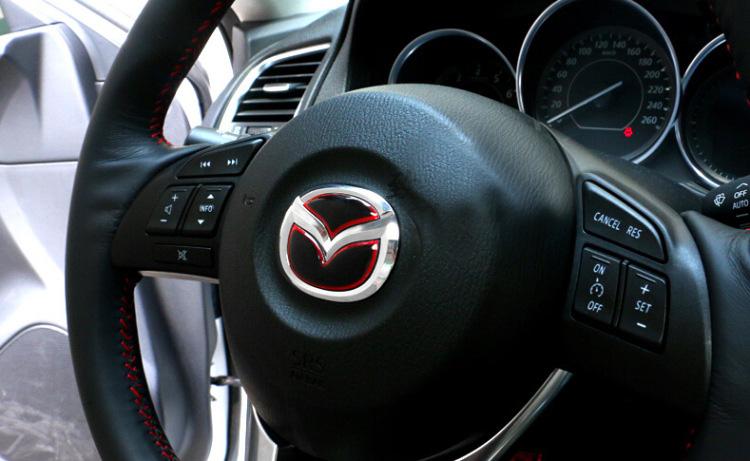 2016 Car Styling CX-5 CX-7 Steering Wheel Emblem Sticker Decoration For Mazda Atenza free shipping(China (Mainland))
