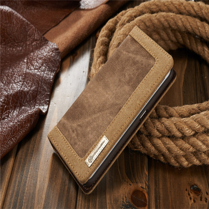 Luxury CaseMe Jeans+Leather Flip Wallet Card Mobile Phone Case For Samsung Galaxy s6 edge Cover Bags Business Enterprise style(China (Mainland))