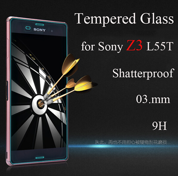 MOQ1 PC - Z3 Tempered Glass films for Sony Xperia Z 3 L55t Toughened Film 0.3mm 9H LCD Screen Protector Ultra thin(China (Mainland))