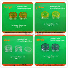 Free Shipping 55PCS 3g transparent small bottle jars pot, 3g clear plastic container, 3g cosmetic cream jar (square based jar)