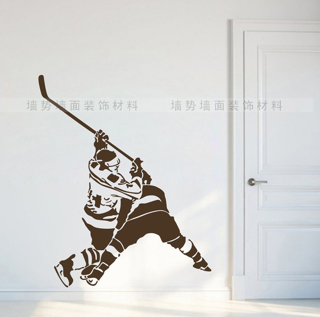 hockey sur glace wall sticker vinyle autocollants stickers muraux parede adh sif art mural. Black Bedroom Furniture Sets. Home Design Ideas