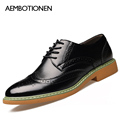 2016 New Men Genuine Leather Shoes Fashion Carving Men Shose High Quality British Business Dress Shoes