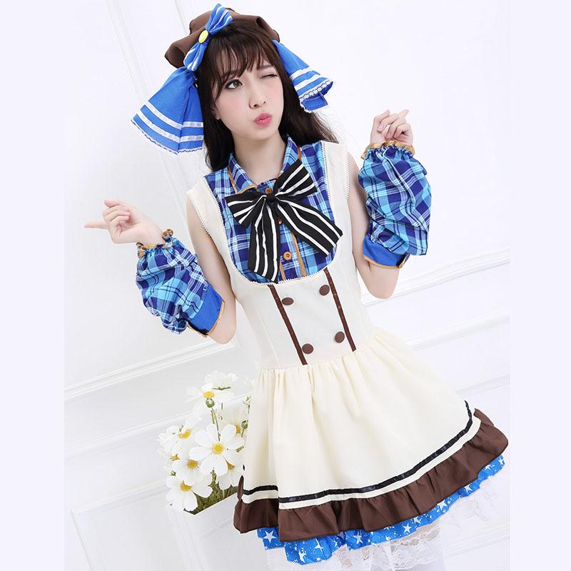 Love Live School Idol Project Umi Sonoda Cosplay Costume Candy Girl Dress Cafe Bar Service Uniform