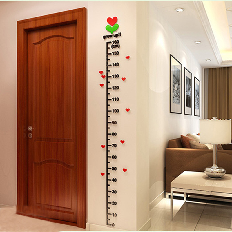 Acrylic Tree-In-Bud Kids Height Chart Stickers On The Wall,Kids Rooms Children DIY Decor Or Measurement Ruler(China (Mainland))