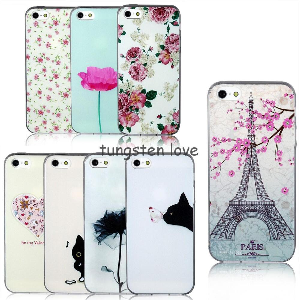Painting Cute Cat Flowers eiffel tower Soft Protective Case Cover accessories For Apple iPhone 6 plus 5.5inch Christmas Gift(China (Mainland))