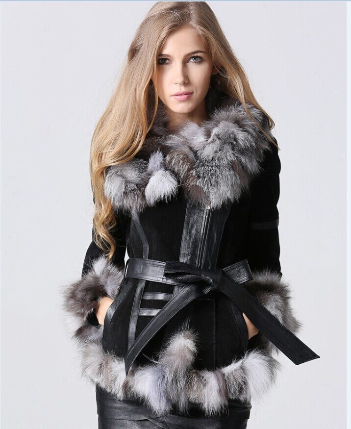 eastern fur 2014 Winter Lady pig Leather Coat Jackets big Fox Fur collar Outerwear Coats Warm Overcoats Female jacket - Zhejiang Eastern CO.LTD store
