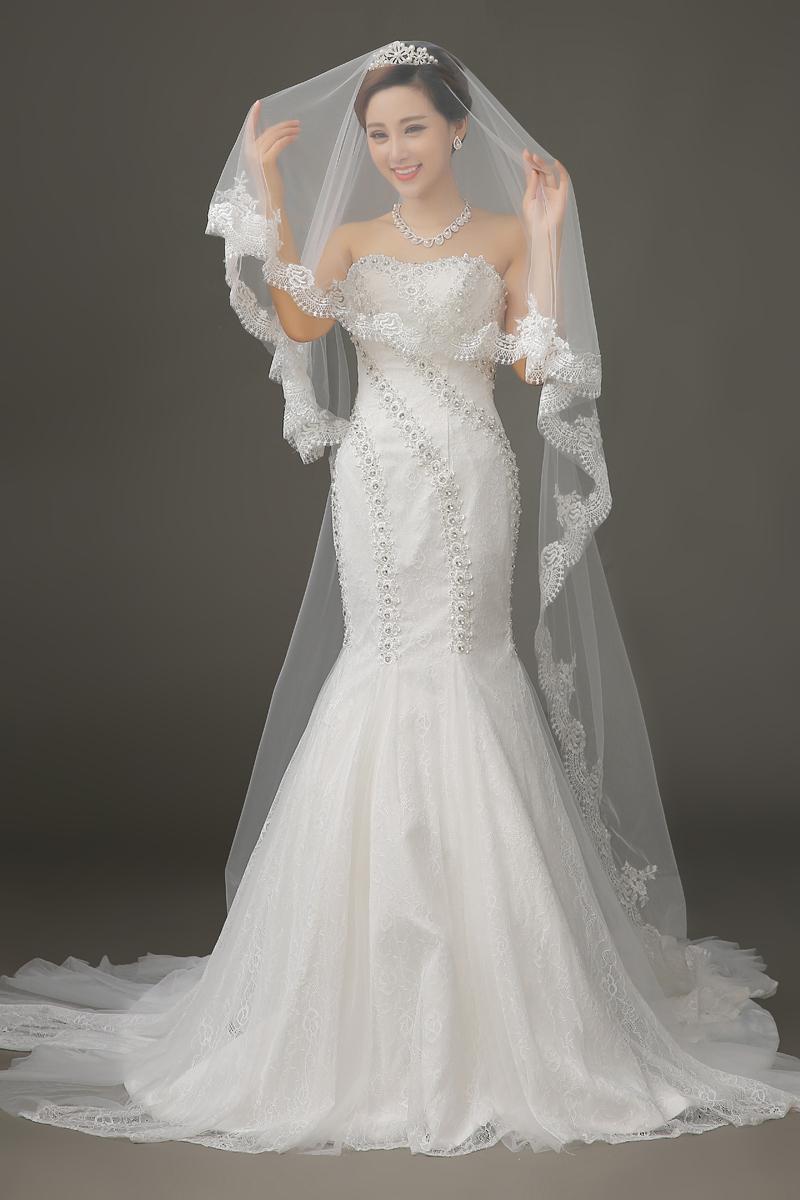 Veu De Noiva Longo Lace Wedding Veil Velo Wedding Accessories Voile Mantilha Bridal Veil Wedding