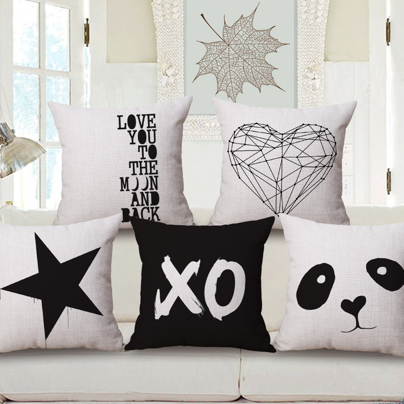 LOVE YOU Custom Cushion covers 45X45cm Black white Decorative Pillows Covers Panda Star Heart Throw Cases Gift - Decor Store store