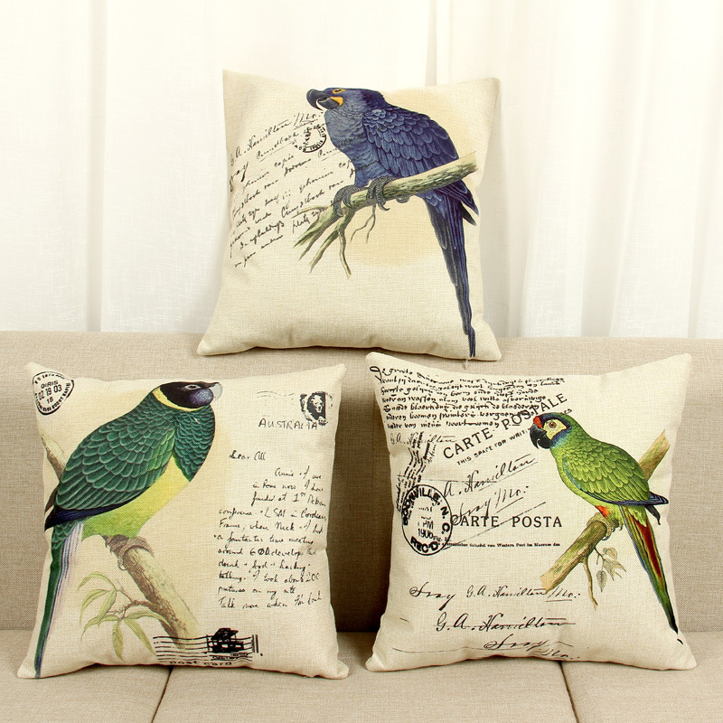 45cm Classical Green Parrot Fashion Cotton Linen Back Cushion Hot Sale 18 Inch New Home Sitting Room Decor Cafe Sofa Pillow HL