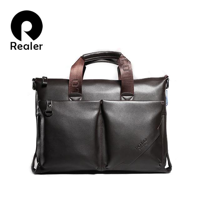 сумка мужская Realer из чистой кожи фото