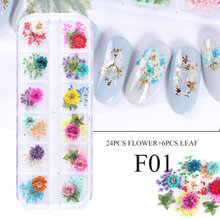 Nail Dried Flower Real Floral 3D Nail Art Decorations UV Gel Polish Natural Floral Sticker Slider Set Beauty Manicure CHF01-10(China)