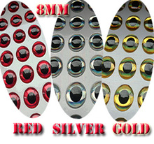 2015new 3D Fishing Lure Eyes red100pcs+silver100pcs+gold100pcs=300pcs/lot size:8MM