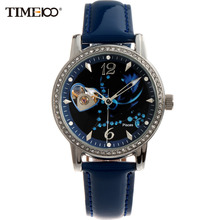 Time100 12 Constellation Pisces Women Automatic Self-wind Mechanical Watch Leather Strap Ladies Wrist Watches For Women Clock