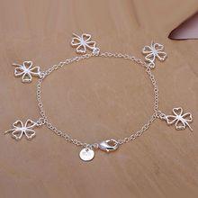 H185 925  silver bracelet, 925  silver fashion jewelry Hollow Four-leaf Clover Bracelet /aylajpsa auzajmga(China (Mainland))