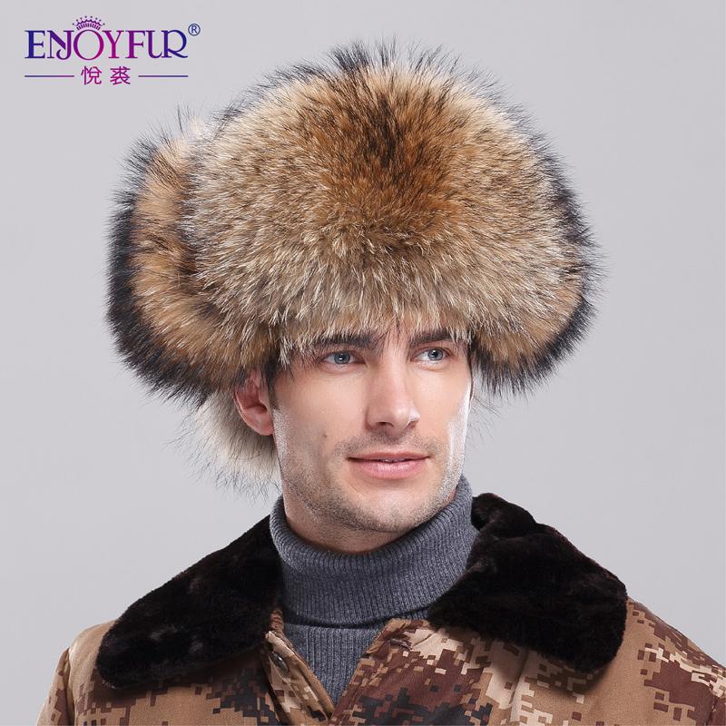 Fur Hats From Russia Genuine Raccoon Bomber Fur Hat