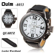 2015 Hot venta Oulm 8053 hombres reloj militar con tiras horas Marks cuero banda de cuarzo deportes hombres reloj