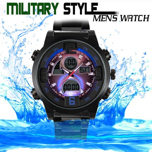 Моде военный человек полный сталь Relojes мужские спорт часы из светодиодов цифровой аналоговый кварцевый наручные часы 3ATM Relogio Masculino