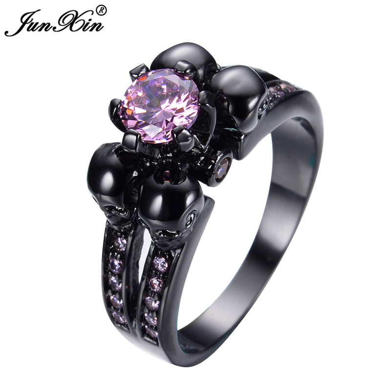 JUNXIN Fashion Female Skull Pink Sapphire Ring Black Gold Filled Jewelry Top
