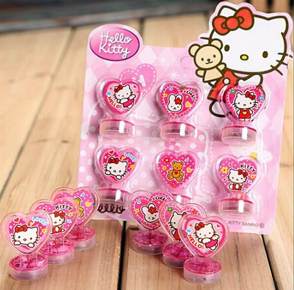 6pcs/set Hello Kitty Cartoon Seal Stamper teacher stamp set craft stamps kids stamp DIY best gifts(China (Mainland))