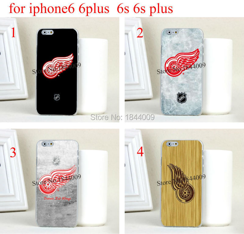 nhl Detroit Red Wings Style Hard Skin Transparent Cover Case for iphone6 6s and iphone6 plus 6s plus(China (Mainland))