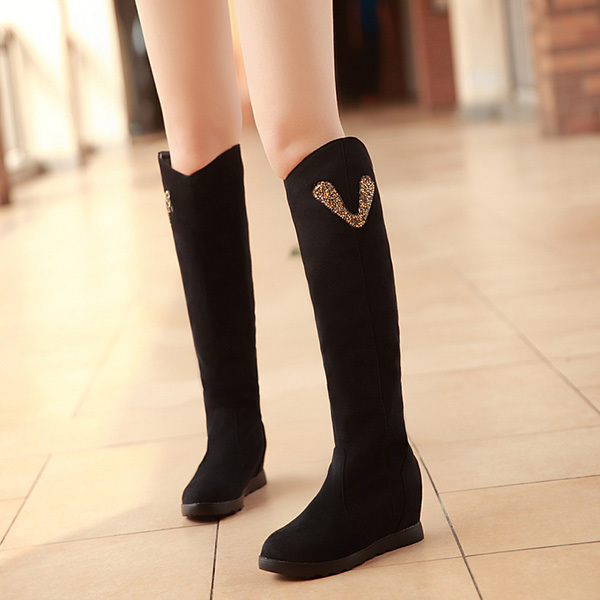 2014 Fall and winter style round toe Flat bottom fashion Knee-high boots women casual shoes sweet rhinestone boots XY362<br><br>Aliexpress