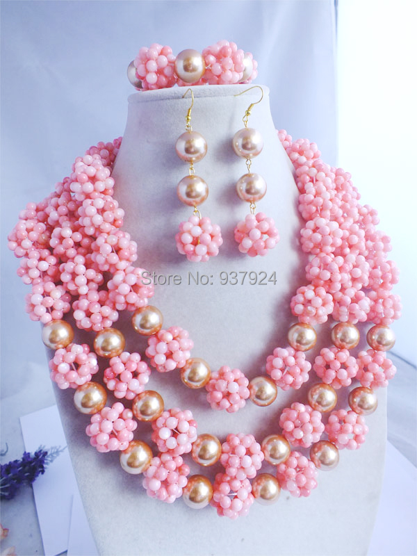 FFashion Design ashion African Nigerian Wedding Jewelry Women Necklace Bracelet Clip Earrings pink Coral Beads set a-015 - Online Store 937924 store