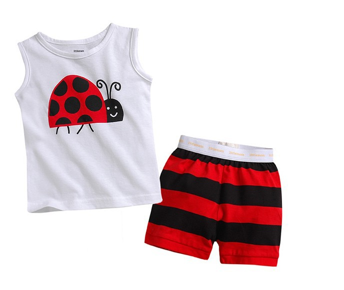 New sleeveless ladybug t shirt + stripe pants 2pcs boys ad girls summer clothing sets 2013 5sets/lot free shipping<br><br>Aliexpress