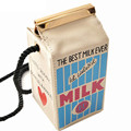 Cute Stereo Mini Milk Box Makeup Cartoon Bag Women Fashion Letter Canvas Shoulders Bag LL1335