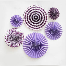 6 Pieces Paper Flowers Fan Origami Wedding Decorations Birthday Party Supplies Garland Valentine's day Decoration Baby Shower(China)