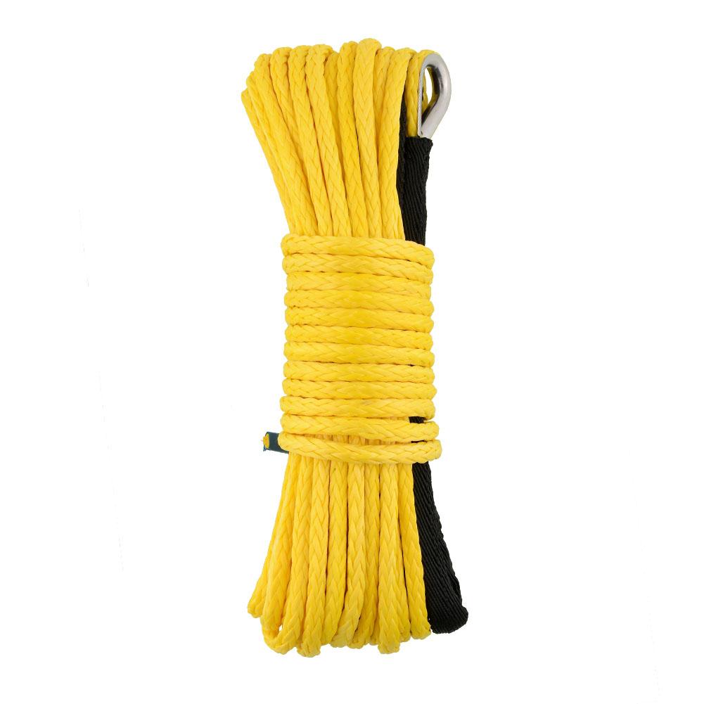 "Useful 50'x1/4"" Yellow Dyneema Synthetic Winch Rope for ATV/UTV Cars KFI Trucks Tractor Free Shipping(China (Mainland))"