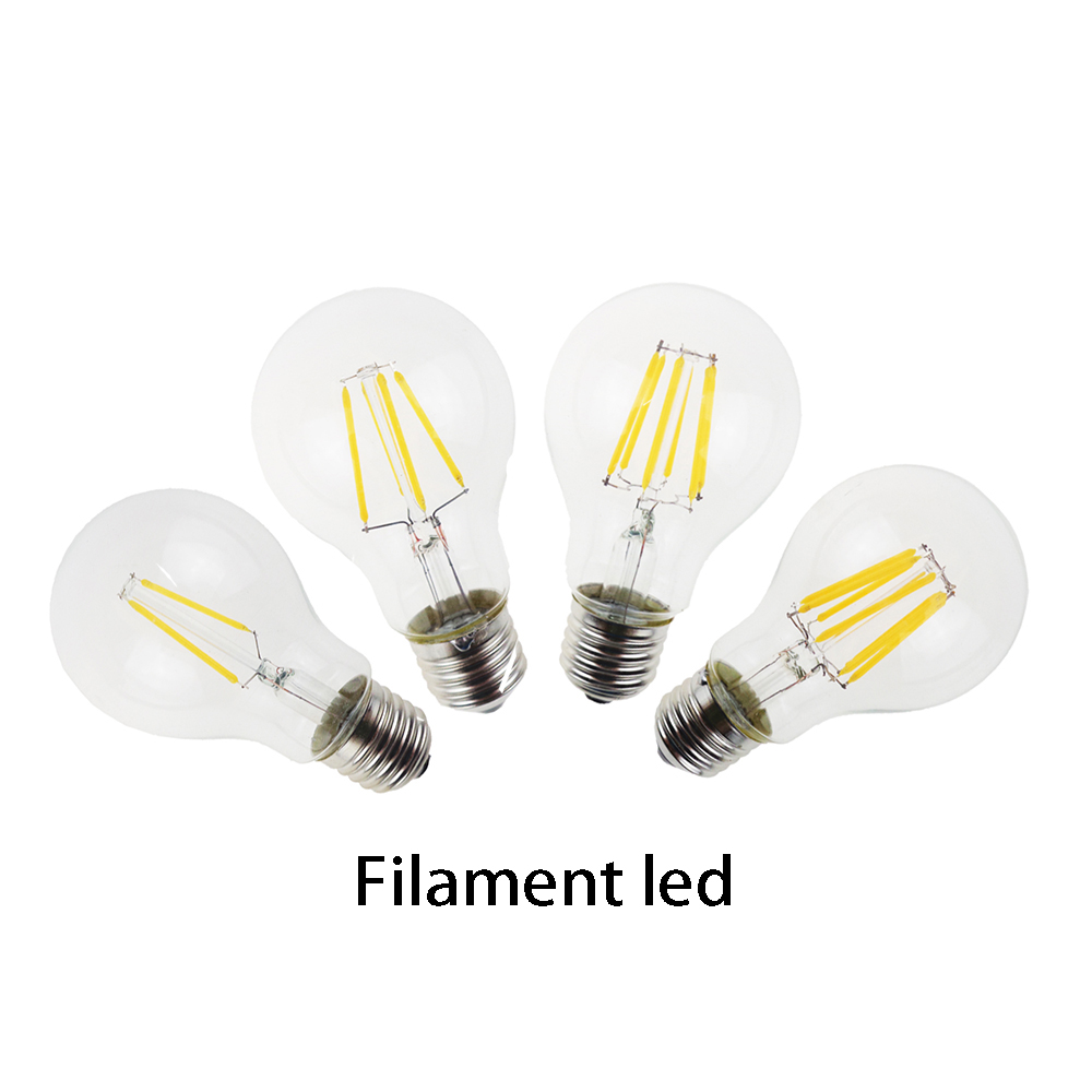 Edison light Led filament bulbs lamp 2W 4W 6W 8W A60 E27 for clear grass indoor led lighting use in 110/240V fast arrival(China (Mainland))