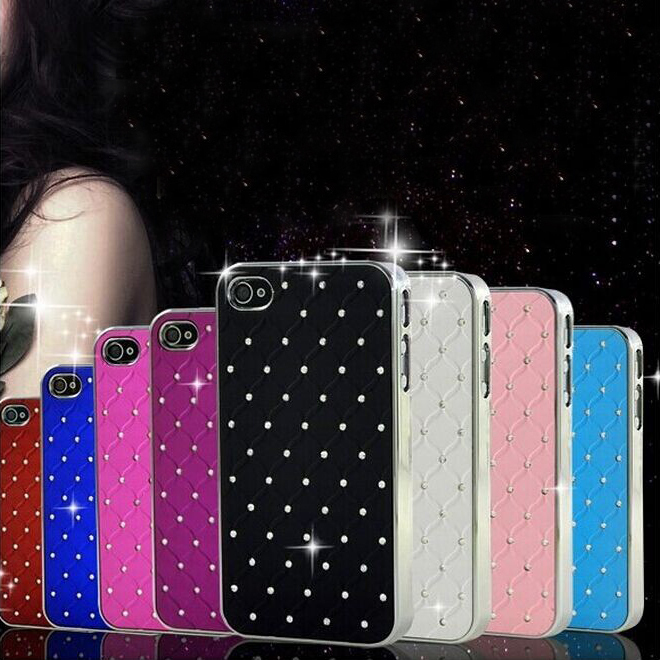 For iPhone 4S Mobile Phone Cases Fashion Crystal Diamond PU Leather Case For Apple iPhone 4S 4 4G Sliver Metal Plated Cover Bag(China (Mainland))