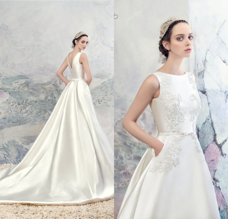 Custom made Appliques Boat neck Ball Gown Wedding Dress Pockets Zipper Back Chapel Train Bridal Dresses