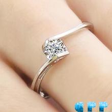 ANGEL KISS!!! FREESHIPPING 0.05 CARAT 100% NATURAL DIAMOND 18K WHITE GOLD ENGAGEMENT RING FOR WOMEN,SOLITARE DIAMOND RING(China (Mainland))