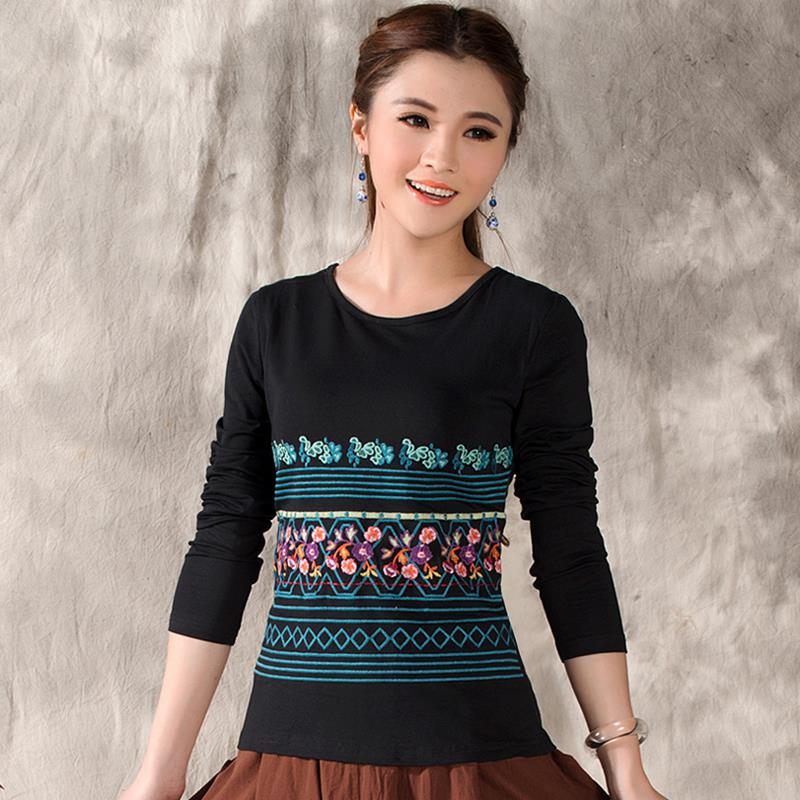 Plus size traditional Chinese clothing 2017 m-3xl ethnic long sleeve black white geometrical pattern print t-shirt tee top
