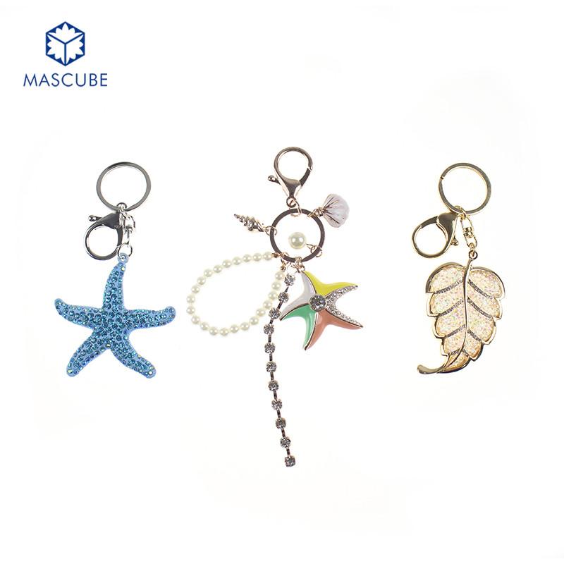 [MASCUBE]2016 Fashion Charm Rhinestone Leather Starfish Tassel Pendant keychain Alloy Bag Key Ring Holder Starfish Key Chain(China (Mainland))