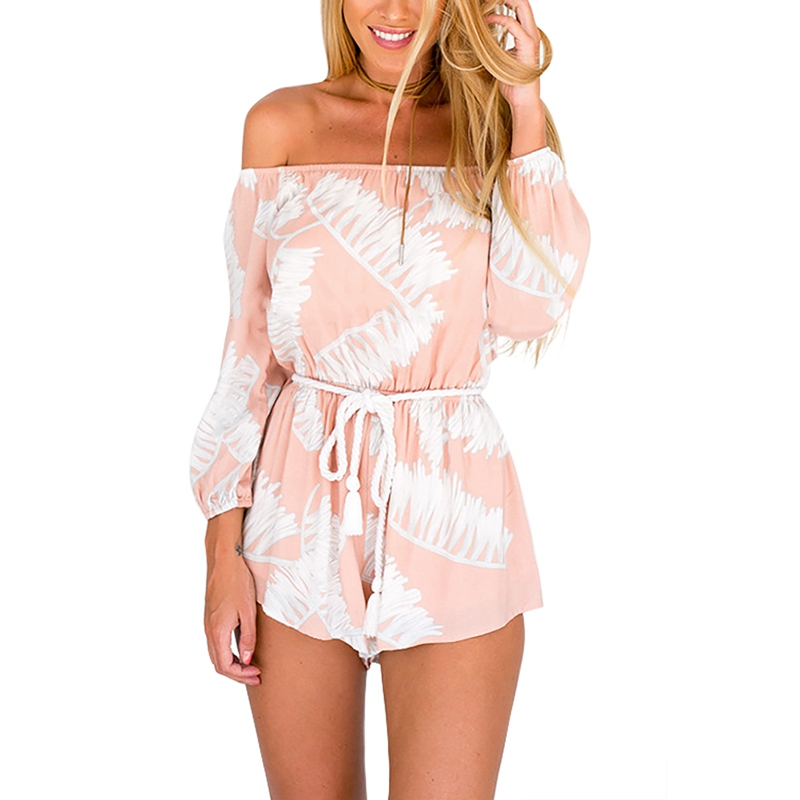 YOINS New 2016 Women Summer Fashion Pink Print Romper Sexy Slash Neck Off The Shoulder Long Sleeve Self-tie Belt Playsuit