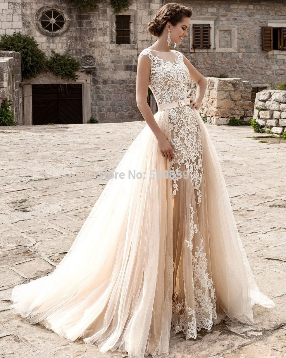 Wedding Wedding Dress With Detachable Skirt popular mermaid dress detachable skirt buy cheap vestido de noiva wedding dresses lace appliques robe mariage sexy trouwjurk 2