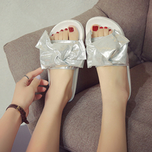 Buy Bling bling woman flipflops beach sandals shiny leather slippers bow-knot design sandalias mujer glitter slides big bow flipflop for $18.95 in AliExpress store
