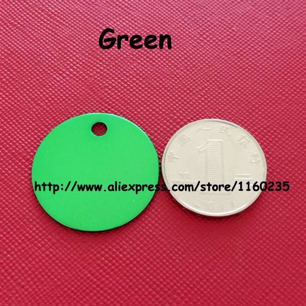 cheap wholesale 20pcs/lot round disc tags for pets cats anodized aluminum green pet tag pendant free shipping(China (Mainland))